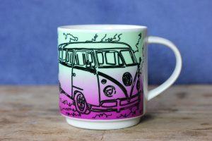 Volkswagen T1 hippie bus mug by Artemie